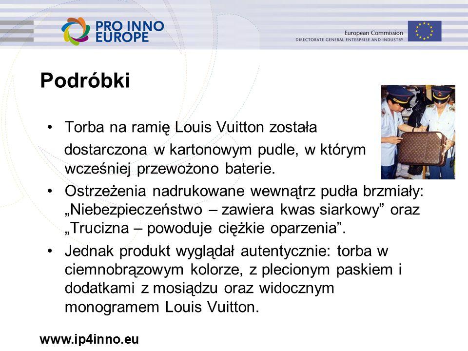 www.ip4inno.eu Podróbki Torba na ramię Louis Vuitton została dostarczona w kartonowym pudle, w którym wcześniej przewożono baterie.