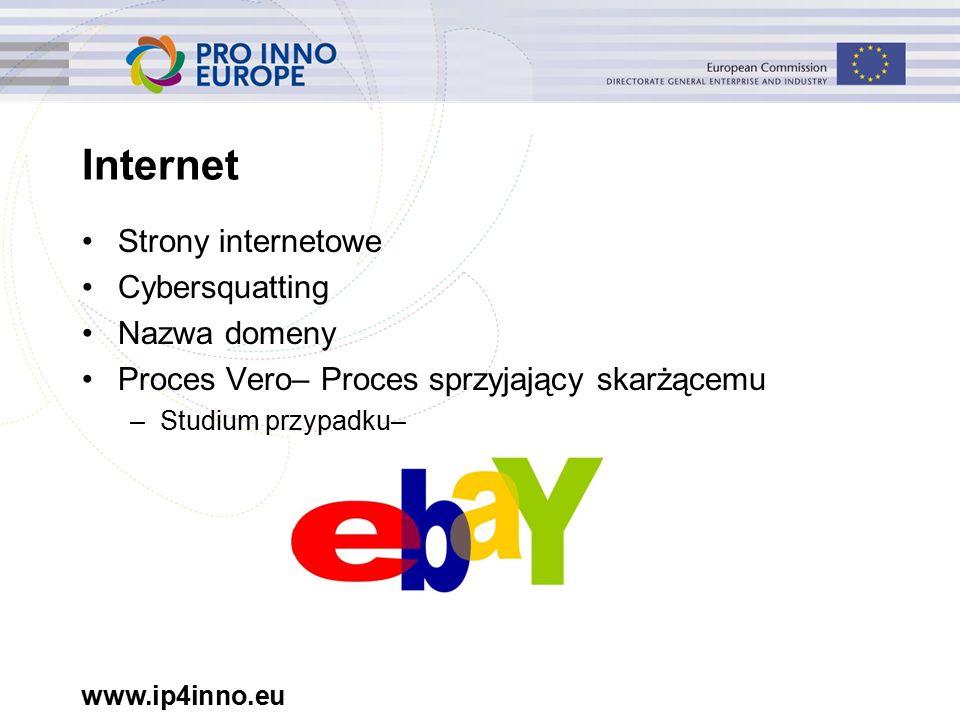 www.ip4inno.eu Internet Strony internetowe Cybersquatting Nazwa domeny Proces Vero– Proces sprzyjający skarżącemu –Studium przypadku–