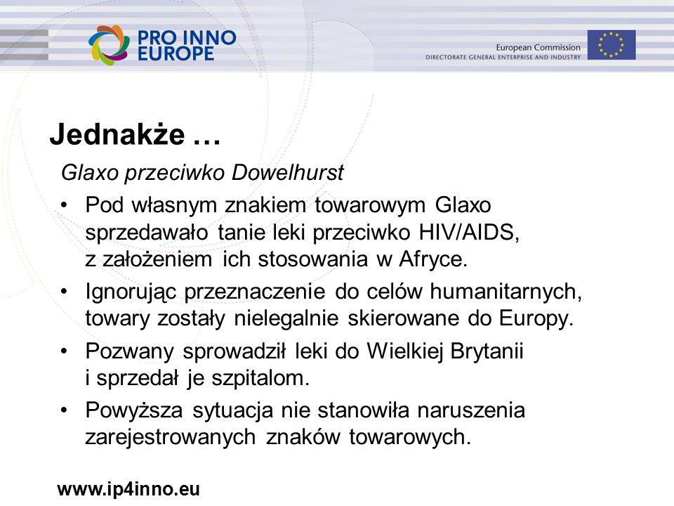 www.ip4inno.eu Glaxo przeciwko Dowelhurst Pod własnym znakiem towarowym Glaxo sprzedawało tanie leki przeciwko HIV/AIDS, z założeniem ich stosowania w Afryce.