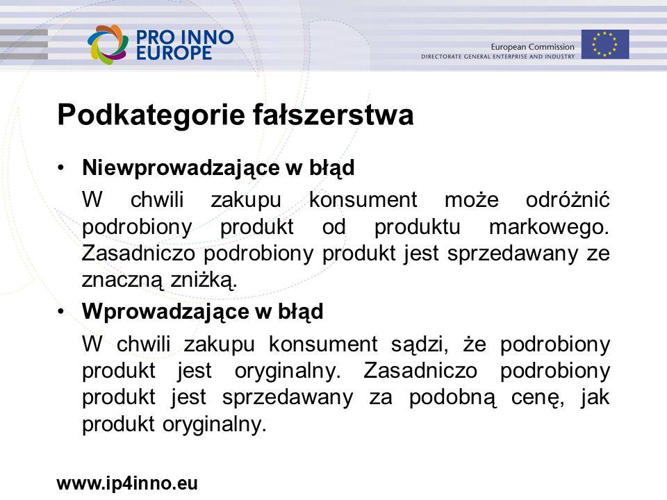 www.ip4inno.eu Podkategorie fałszerstwa Niewprowadzające w błąd W chwili zakupu konsument może odróżnić podrobiony produkt od produktu markowego.