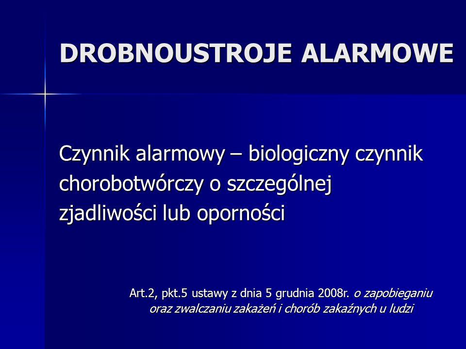 DROBNOUSTROJE ALARMOWE Czynnik alarmowy – biologiczny czynnik chorobotwórczy o szczególnej zjadliwości lub oporności Art.2, pkt.5 ustawy z dnia 5 grud