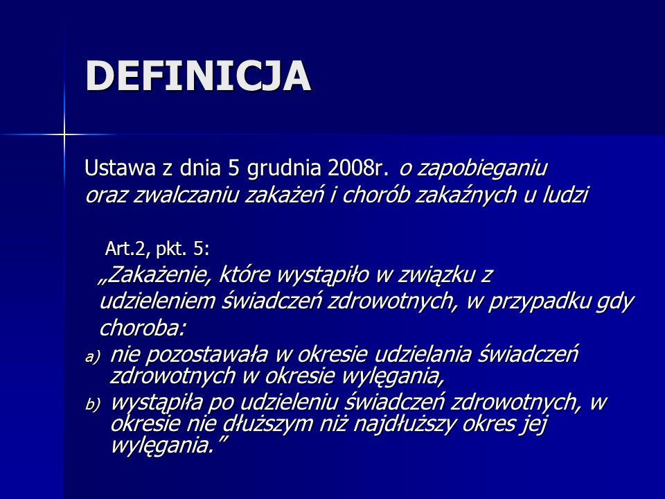 """DEFINICJA Ustawa z dnia 5 grudnia 2008r. o zapobieganiu oraz zwalczaniu zakażeń i chorób zakaźnych u ludzi Art.2, pkt. 5: Art.2, pkt. 5: """"Zakażenie, k"""
