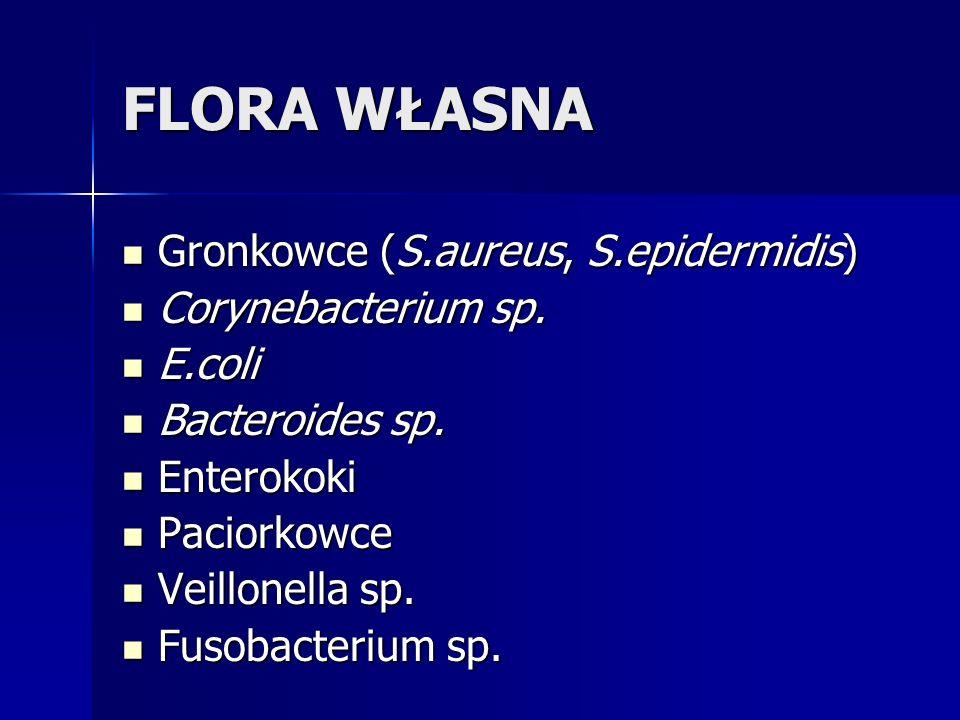 FLORA WŁASNA Gronkowce (S.aureus, S.epidermidis) Gronkowce (S.aureus, S.epidermidis) Corynebacterium sp. Corynebacterium sp. E.coli E.coli Bacteroides