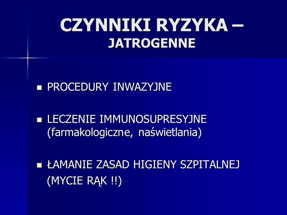 CZYNNIKI RYZYKA – JATROGENNE PROCEDURY INWAZYJNE PROCEDURY INWAZYJNE LECZENIE IMMUNOSUPRESYJNE (farmakologiczne, naświetlania) LECZENIE IMMUNOSUPRESYJ