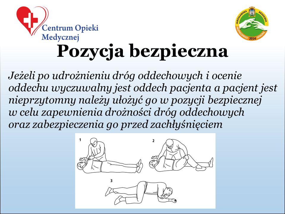 Pozycja bezpieczna Jeżeli po udrożnieniu dróg oddechowych i ocenie oddechu wyczuwalny jest oddech pacjenta a pacjent jest nieprzytomny należy ułożyć g