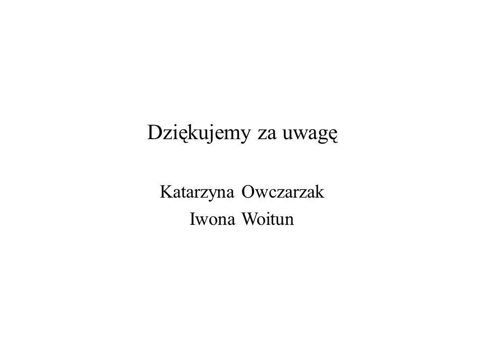 Dziękujemy za uwagę Katarzyna Owczarzak Iwona Woitun