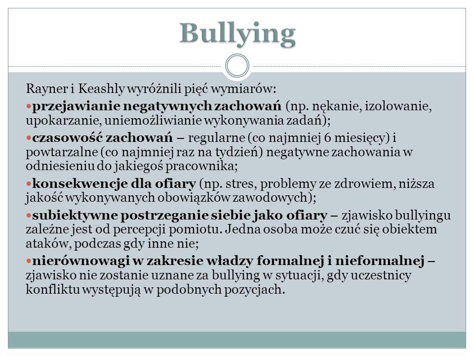 Rayner i Keashly wyróżnili pięć wymiarów: przejawianie negatywnych zachowań (np. nękanie, izolowanie, upokarzanie, uniemożliwianie wykonywania zadań);