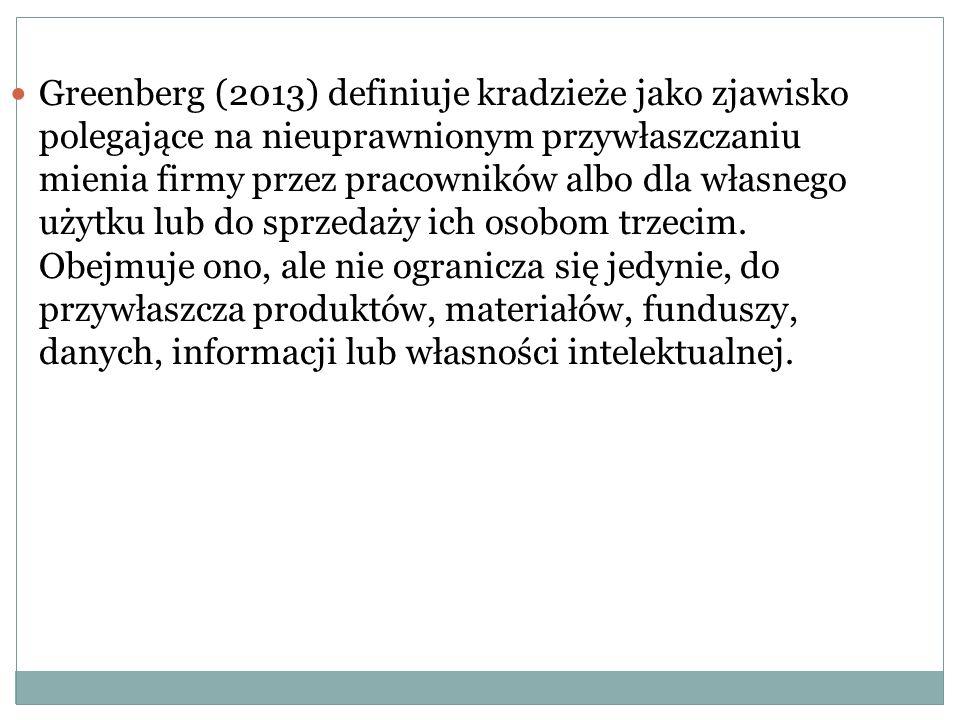 Greenberg (2013) definiuje kradzieże jako zjawisko polegające na nieuprawnionym przywłaszczaniu mienia firmy przez pracowników albo dla własnego użytk