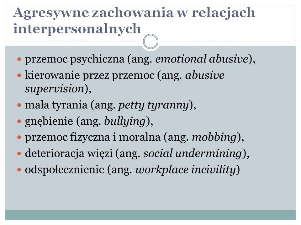przemoc psychiczna (ang. emotional abusive), kierowanie przez przemoc (ang. abusive supervision), mała tyrania (ang. petty tyranny), gnębienie (ang. b