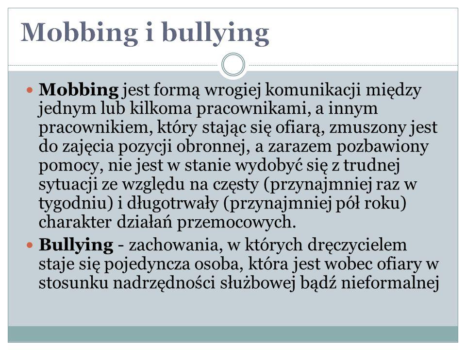Mobbing jest formą wrogiej komunikacji między jednym lub kilkoma pracownikami, a innym pracownikiem, który stając się ofiarą, zmuszony jest do zajęcia