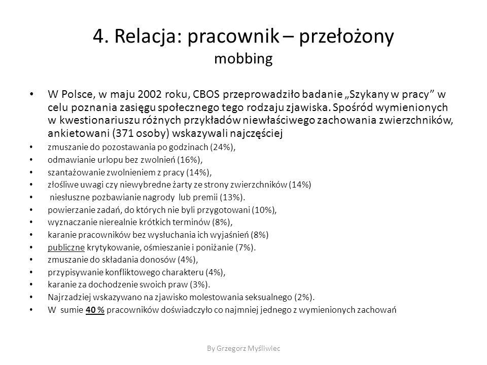 """4. Relacja: pracownik – przełożony mobbing W Polsce, w maju 2002 roku, CBOS przeprowadziło badanie """"Szykany w pracy"""" w celu poznania zasięgu społeczne"""
