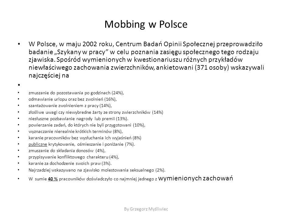 """Mobbing w Polsce W Polsce, w maju 2002 roku, Centrum Badań Opinii Społecznej przeprowadziło badanie """"Szykany w pracy w celu poznania zasięgu społecznego tego rodzaju zjawiska."""