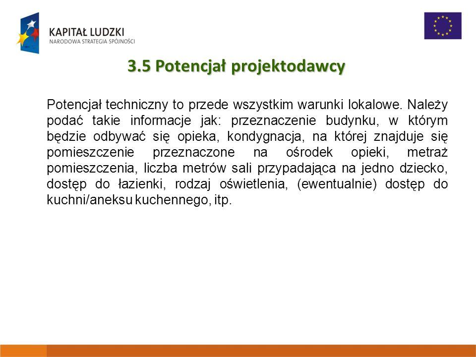 3.5 Potencjał projektodawcy Potencjał techniczny to przede wszystkim warunki lokalowe.