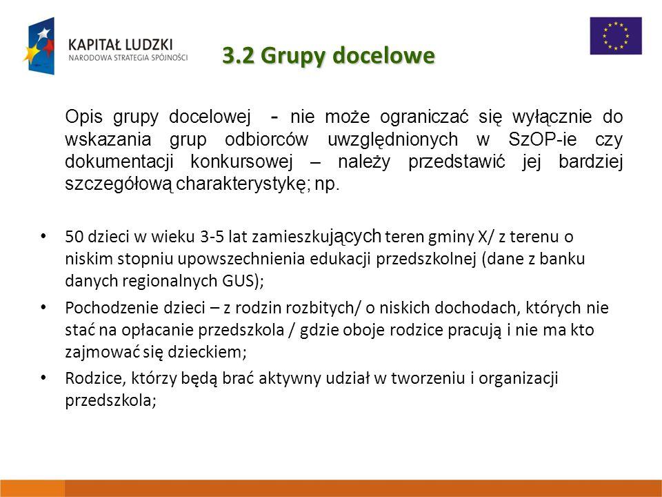 3.2 Grupy docelowe Uzasadnienie wyboru grupy docelowej - Dlaczego dokonano wyboru takiej właśnie grupy.