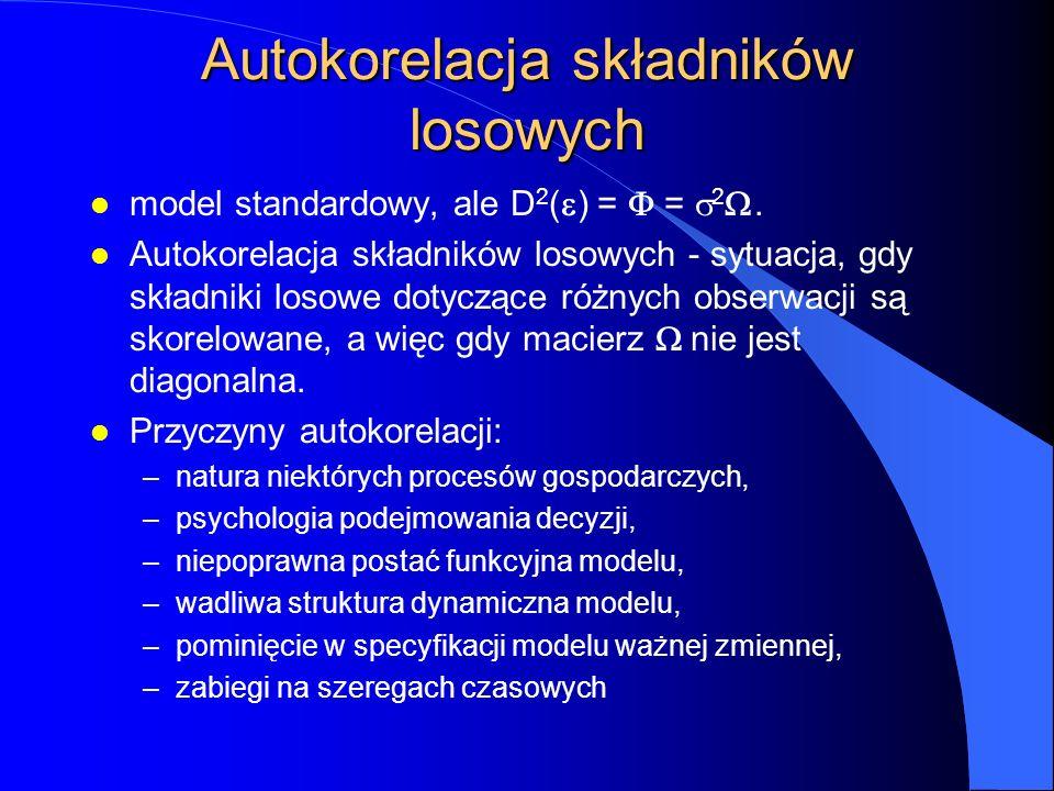 Autokorelacja składników losowych model standardowy, ale D 2 (  ) =  =  2 .