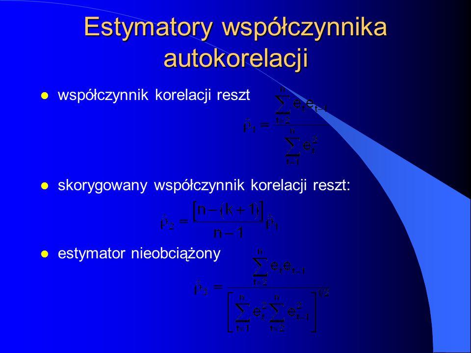 Estymatory współczynnika autokorelacji l współczynnik korelacji reszt l skorygowany współczynnik korelacji reszt: l estymator nieobciążony