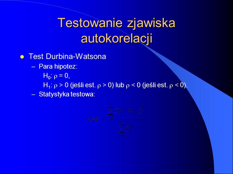 Testowanie zjawiska autokorelacji l Test Durbina-Watsona –Para hipotez: H 0 :  = 0, H 1 :  > 0 (jeśli est.