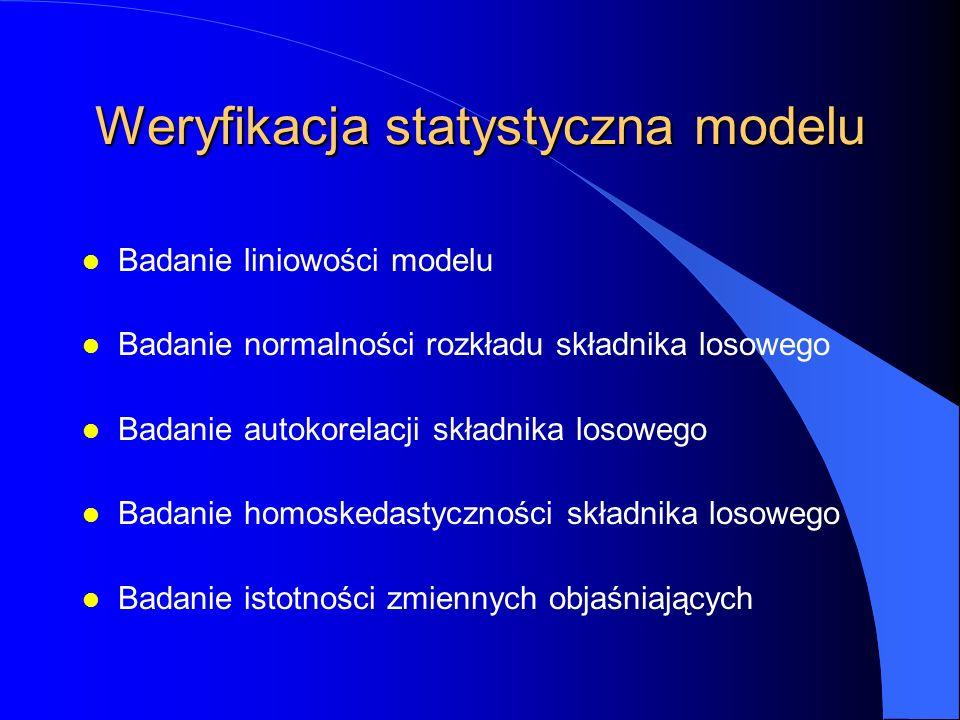 Weryfikacja statystyczna modelu l Badanie liniowości modelu l Badanie normalności rozkładu składnika losowego l Badanie autokorelacji składnika losowego l Badanie homoskedastyczności składnika losowego l Badanie istotności zmiennych objaśniających