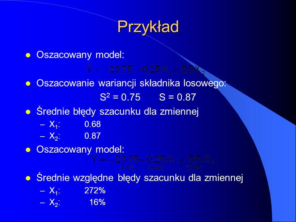 Przykład l Oszacowany model: l Oszacowanie wariancji składnika losowego: S 2 = 0.75S = 0.87 l Średnie błędy szacunku dla zmiennej –X 1 :0.68 –X 2 :0.87 l Oszacowany model: l Średnie względne błędy szacunku dla zmiennej –X 1 :272% –X 2 : 16%