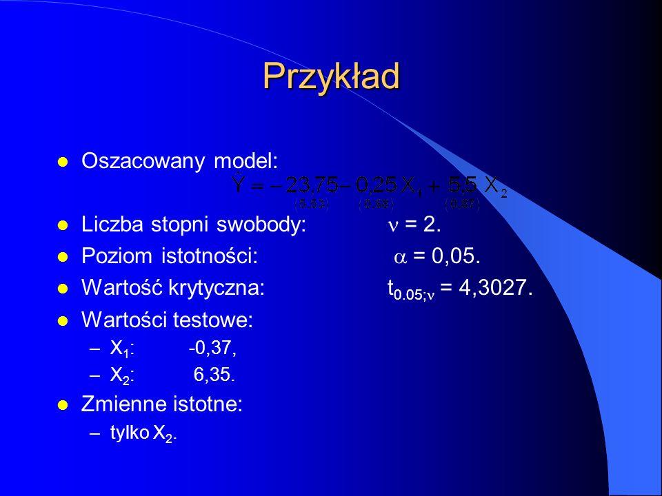 Przykład l Oszacowany model: Liczba stopni swobody:  = 2.
