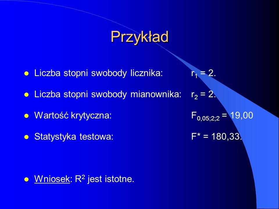 Przykład l Liczba stopni swobody licznika:r 1 = 2.