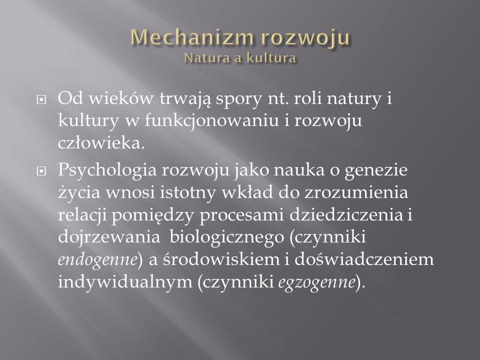  Od wieków trwają spory nt. roli natury i kultury w funkcjonowaniu i rozwoju człowieka.