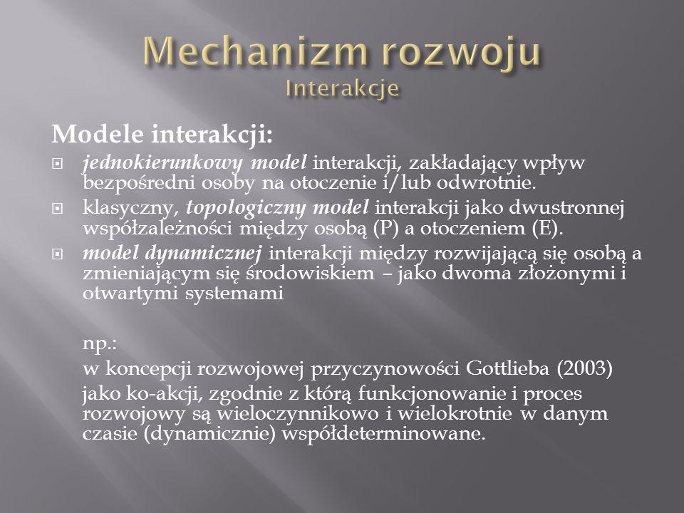Modele interakcji:  jednokierunkowy model interakcji, zakładający wpływ bezpośredni osoby na otoczenie i/lub odwrotnie.