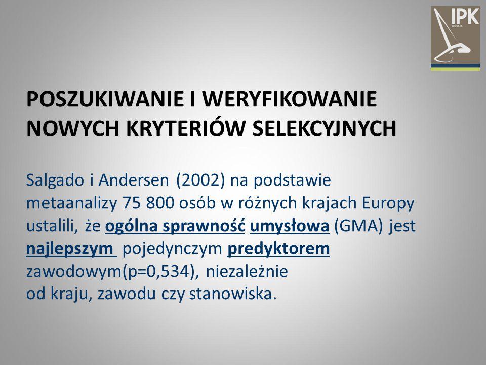 POSZUKIWANIE I WERYFIKOWANIE NOWYCH KRYTERIÓW SELEKCYJNYCH Salgado i Andersen (2002) na podstawie metaanalizy 75 800 osób w różnych krajach Europy ust