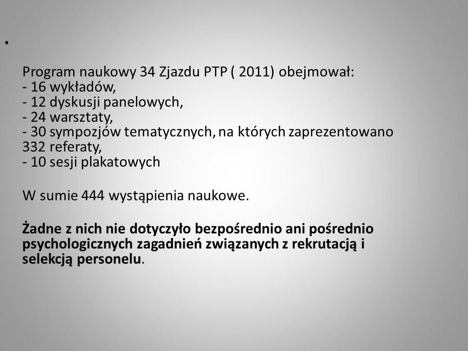 Program naukowy 34 Zjazdu PTP ( 2011) obejmował: - 16 wykładów, - 12 dyskusji panelowych, - 24 warsztaty, - 30 sympozjów tematycznych, na których zapr