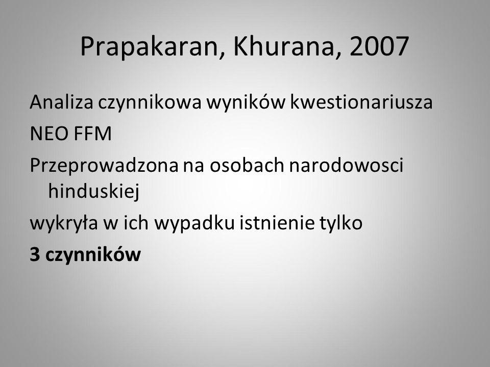 Prapakaran, Khurana, 2007 Analiza czynnikowa wyników kwestionariusza NEO FFM Przeprowadzona na osobach narodowosci hinduskiej wykryła w ich wypadku is