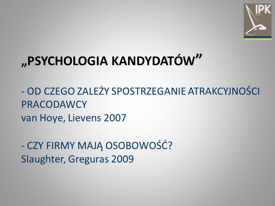 """""""PSYCHOLOGIA KANDYDATÓW """" - OD CZEGO ZALEŻY SPOSTRZEGANIE ATRAKCYJNOŚCI PRACODAWCY van Hoye, Lievens 2007 - CZY FIRMY MAJĄ OSOBOWOŚĆ? Slaughter, Gregu"""