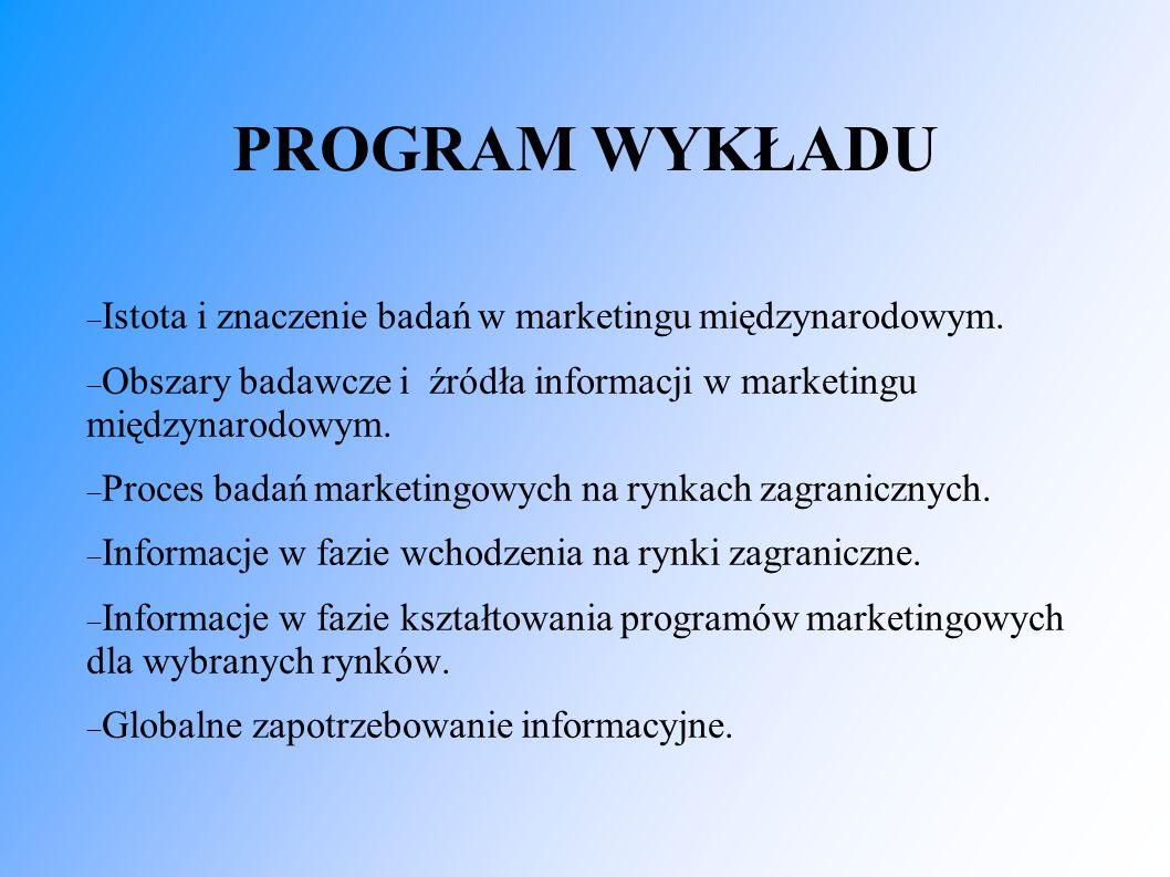 PROGRAM WYKŁADU  Istota i znaczenie badań w marketingu międzynarodowym.  Obszary badawcze i źródła informacji w marketingu międzynarodowym.  Proces