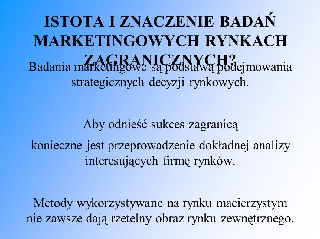 ISTOTA I ZNACZENIE BADAŃ MARKETINGOWYCH RYNKACH ZAGRANICZNYCH? Badania marketingowe są podstawą podejmowania strategicznych decyzji rynkowych. Aby odn