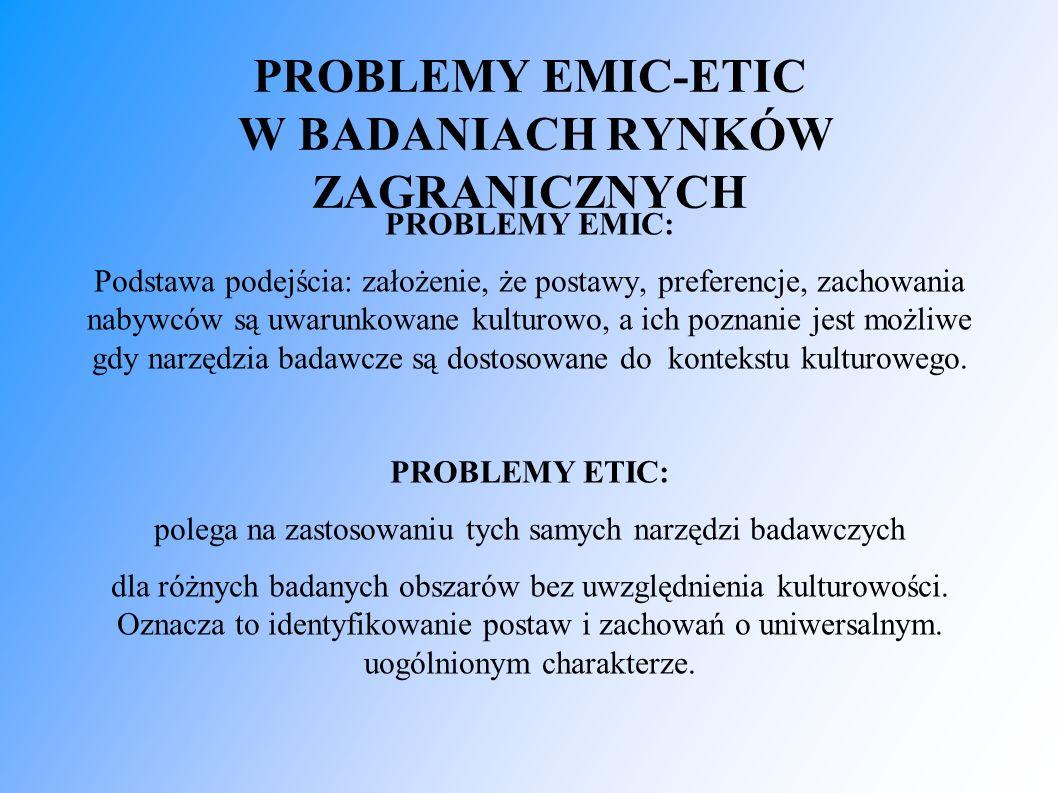 PROBLEMY EMIC-ETIC W BADANIACH RYNKÓW ZAGRANICZNYCH PROBLEMY EMIC: Podstawa podejścia: założenie, że postawy, preferencje, zachowania nabywców są uwarunkowane kulturowo, a ich poznanie jest możliwe gdy narzędzia badawcze są dostosowane do kontekstu kulturowego.