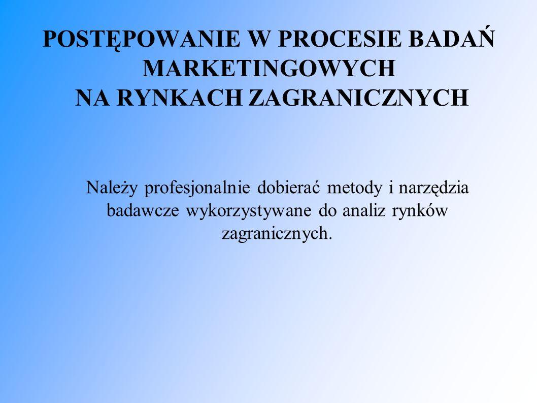 POSTĘPOWANIE W PROCESIE BADAŃ MARKETINGOWYCH NA RYNKACH ZAGRANICZNYCH Należy profesjonalnie dobierać metody i narzędzia badawcze wykorzystywane do analiz rynków zagranicznych.