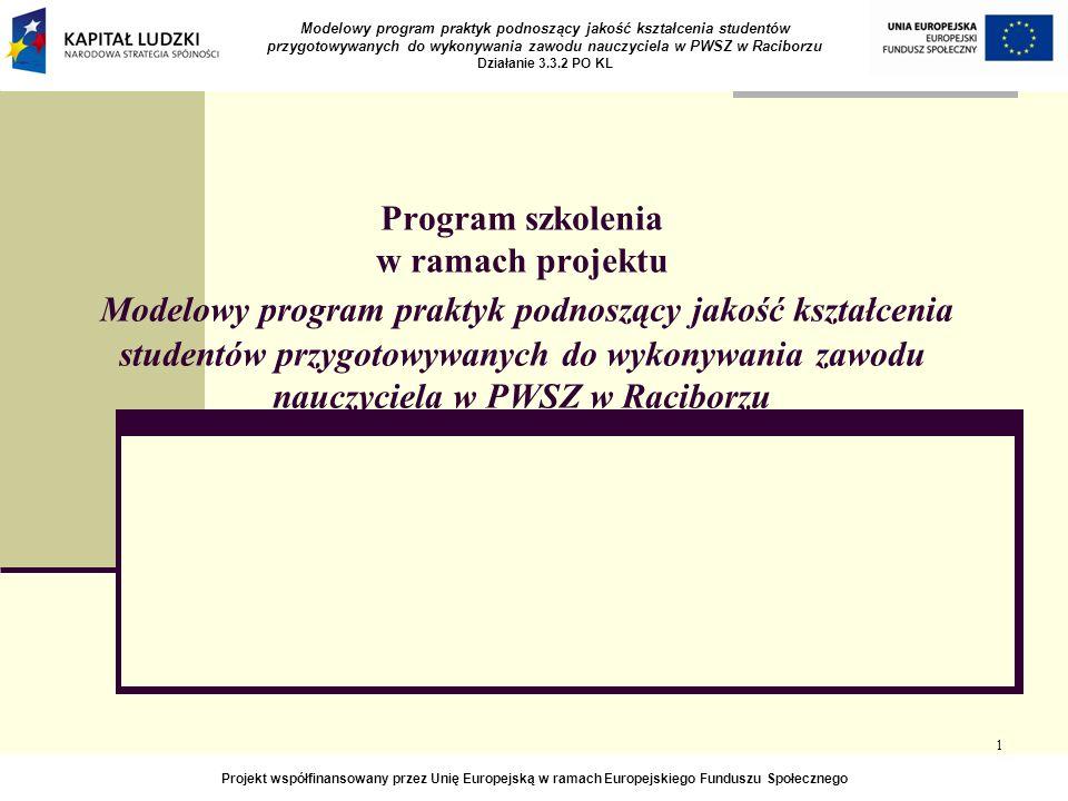 1 Program szkolenia w ramach projektu Modelowy program praktyk podnoszący jakość kształcenia studentów przygotowywanych do wykonywania zawodu nauczyciela w PWSZ w Raciborzu Modelowy program praktyk podnoszący jakość kształcenia studentów przygotowywanych do wykonywania zawodu nauczyciela w PWSZ w Raciborzu Działanie 3.3.2 PO KL Projekt współfinansowany przez Unię Europejską w ramach Europejskiego Funduszu Społecznego