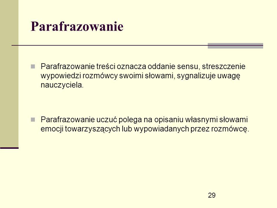 29 Parafrazowanie Parafrazowanie treści oznacza oddanie sensu, streszczenie wypowiedzi rozmówcy swoimi słowami, sygnalizuje uwagę nauczyciela.