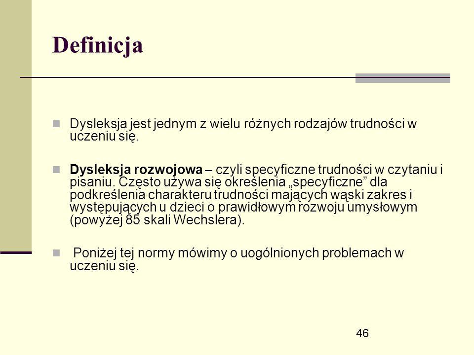 46 Definicja Dysleksja jest jednym z wielu różnych rodzajów trudności w uczeniu się.