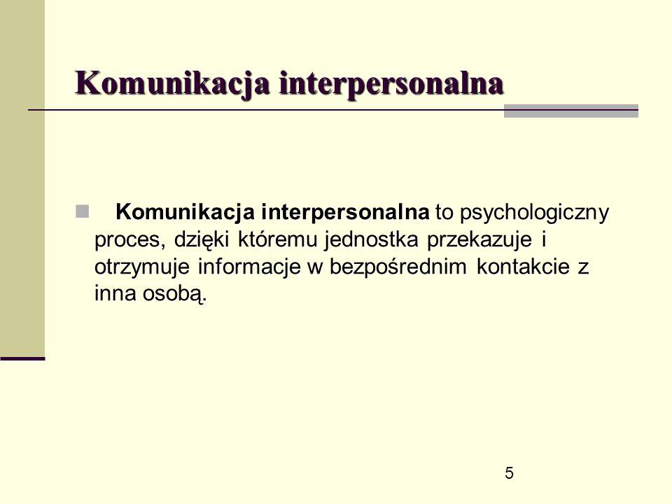 5 Komunikacja interpersonalna Komunikacja interpersonalna to psychologiczny proces, dzięki któremu jednostka przekazuje i otrzymuje informacje w bezpośrednim kontakcie z inna osobą.