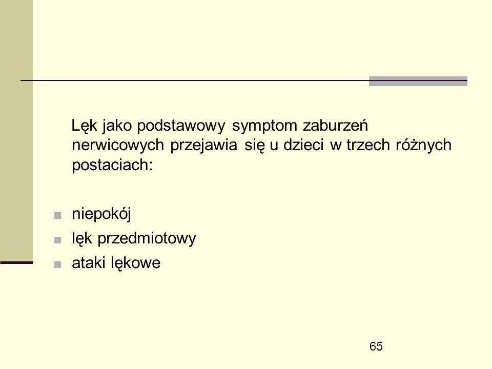 65 Lęk jako podstawowy symptom zaburzeń nerwicowych przejawia się u dzieci w trzech różnych postaciach: ■ niepokój ■ lęk przedmiotowy ■ ataki lękowe
