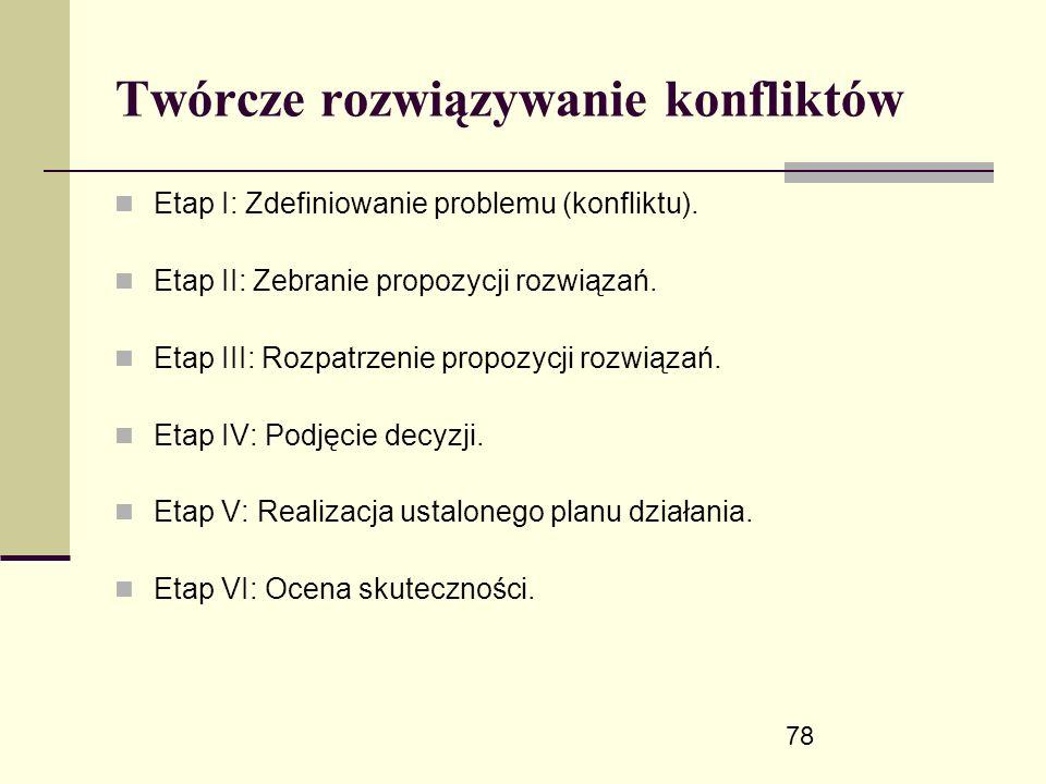 78 Twórcze rozwiązywanie konfliktów Etap I: Zdefiniowanie problemu (konfliktu).