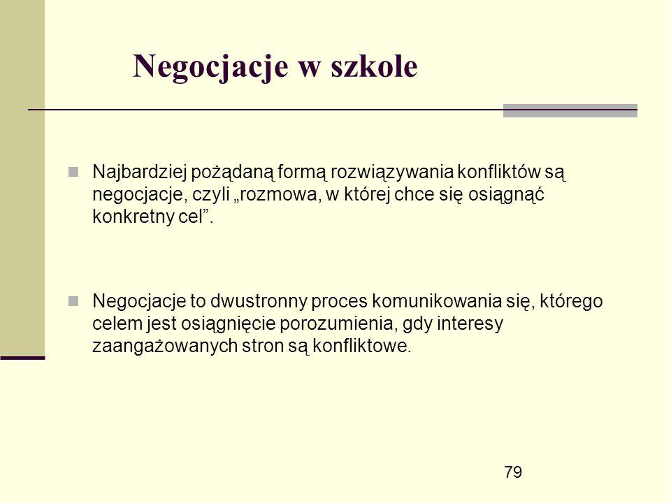 """79 Negocjacje w szkole Najbardziej pożądaną formą rozwiązywania konfliktów są negocjacje, czyli """"rozmowa, w której chce się osiągnąć konkretny cel ."""