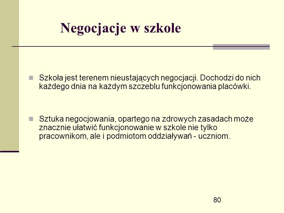 80 Negocjacje w szkole Szkoła jest terenem nieustających negocjacji.