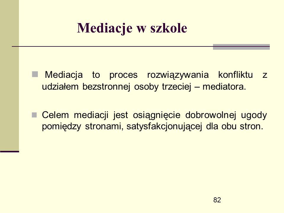 82 Mediacje w szkole Mediacja to proces rozwiązywania konfliktu z udziałem bezstronnej osoby trzeciej – mediatora.