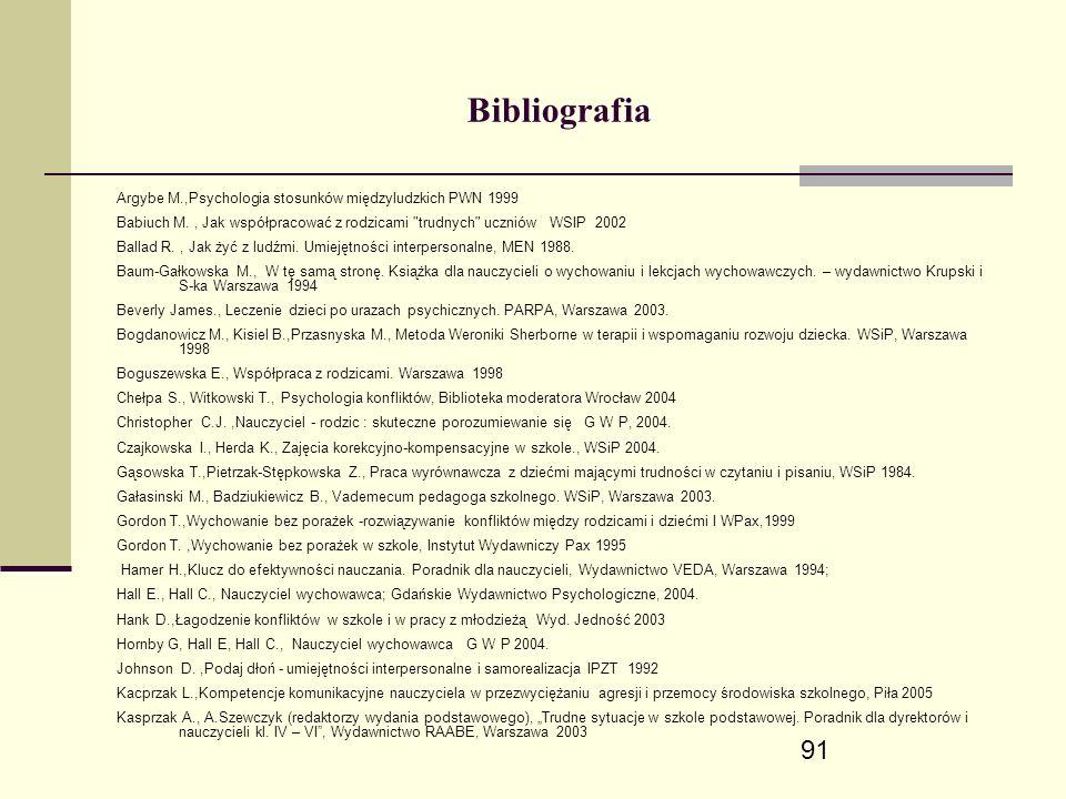 91 Bibliografia Argybe M.,Psychologia stosunków międzyludzkich PWN 1999 Babiuch M., Jak współpracować z rodzicami trudnych uczniów WSIP 2002 Ballad R., Jak żyć z ludźmi.