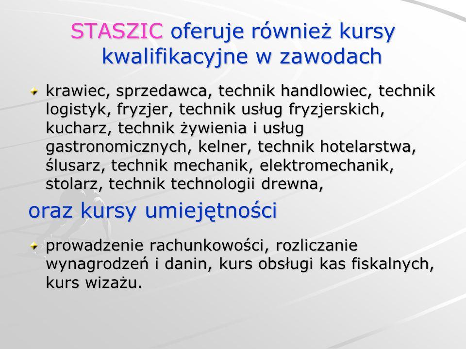 STASZIC oferuje również kursy kwalifikacyjne w zawodach krawiec, sprzedawca, technik handlowiec, technik logistyk, fryzjer, technik usług fryzjerskich