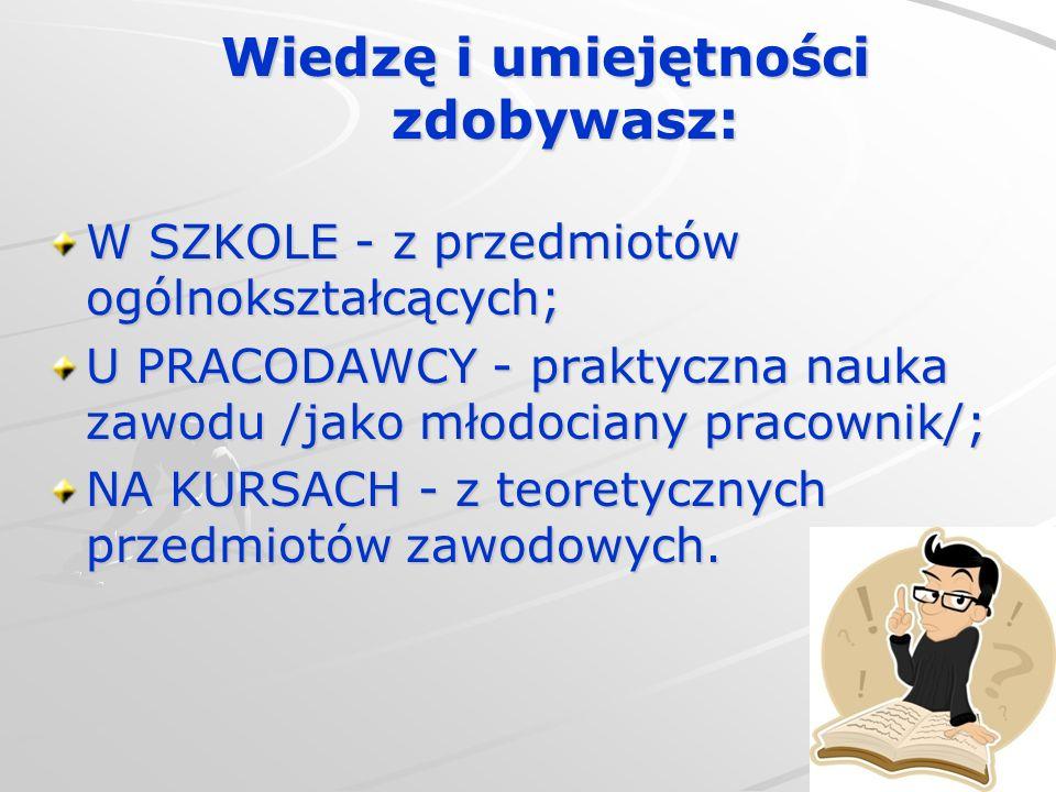 Wiedzę i umiejętności zdobywasz: W SZKOLE - z przedmiotów ogólnokształcących; U PRACODAWCY - praktyczna nauka zawodu /jako młodociany pracownik/; NA K