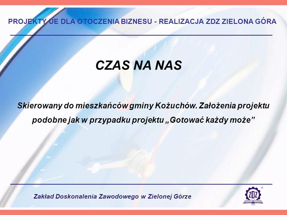 Zakład Doskonalenia Zawodowego w Zielonej Górze PROJEKTY UE DLA OTOCZENIA BIZNESU - REALIZACJA ZDZ ZIELONA GÓRA Skierowany do mieszkańców gminy Kożuchów.