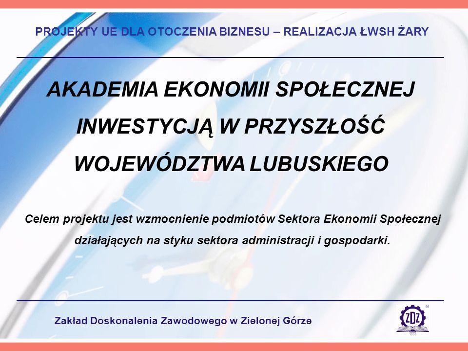 Zakład Doskonalenia Zawodowego w Zielonej Górze AKADEMIA EKONOMII SPOŁECZNEJ INWESTYCJĄ W PRZYSZŁOŚĆ WOJEWÓDZTWA LUBUSKIEGO PROJEKTY UE DLA OTOCZENIA BIZNESU – REALIZACJA ŁWSH ŻARY Celem projektu jest wzmocnienie podmiotów Sektora Ekonomii Społecznej działających na styku sektora administracji i gospodarki.