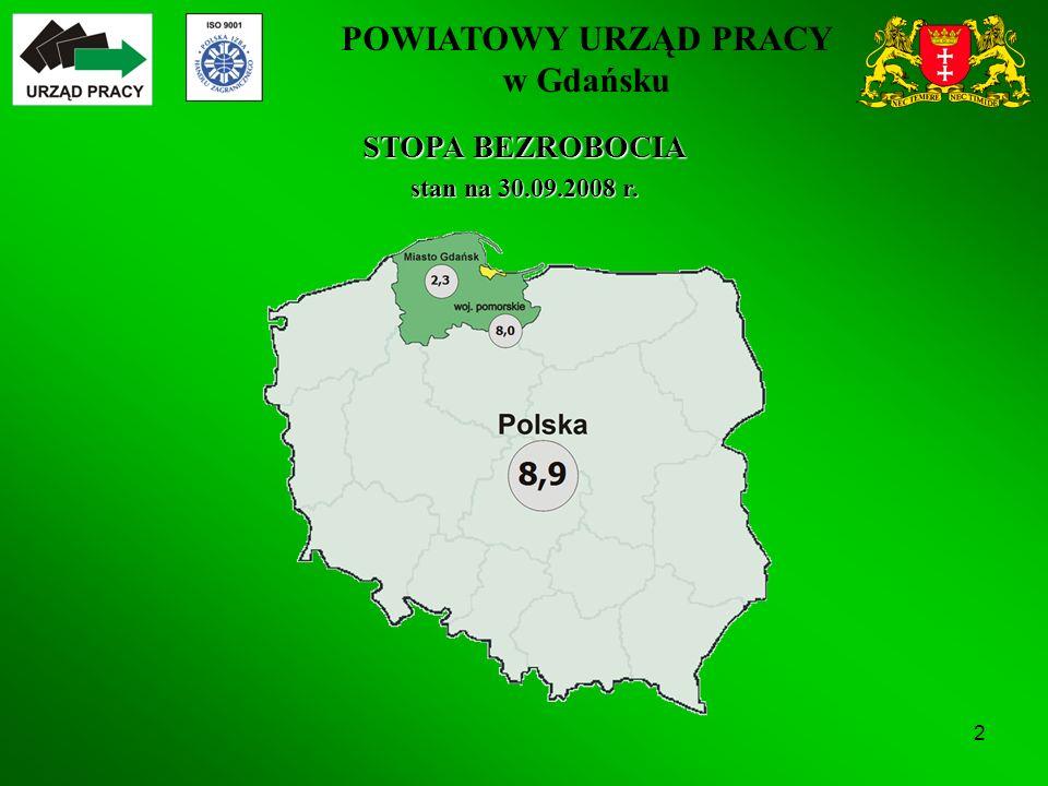POWIATOWY URZĄD PRACY w Gdańsku 2 STOPA BEZROBOCIA stan na 30.09.2008 r.